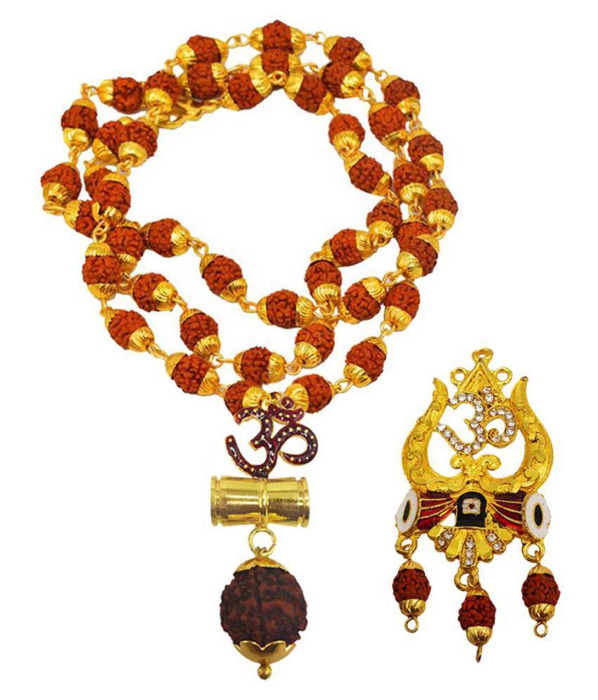 Shiv Jagdamba Religious Jewellery Om Trishul Damru Gold Brown Brass Wood Pendant with Rudraksha Mala