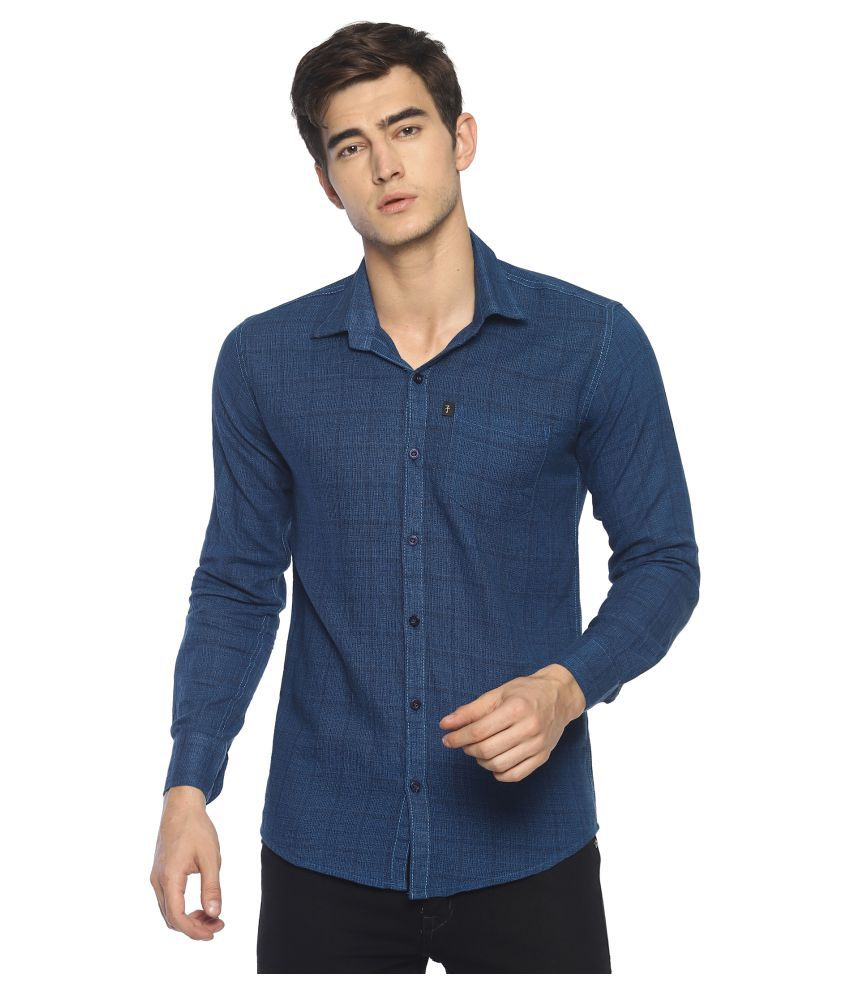 Levizo 100 Percent Cotton Blue Checks Shirt