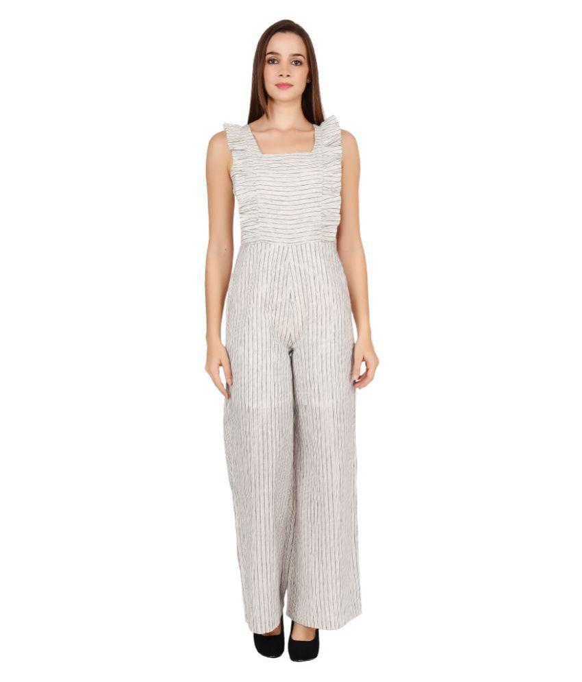Meraki Vine White Linen Jumpsuit