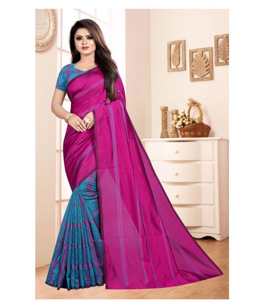 Gazal Fashions Pink,Blue Cotton Silk Saree