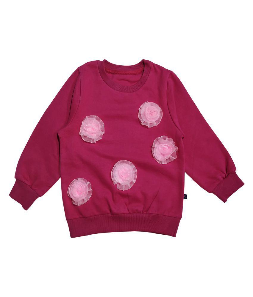 Girl #039;s Full Sleeve Sweatshirt With Flower applique