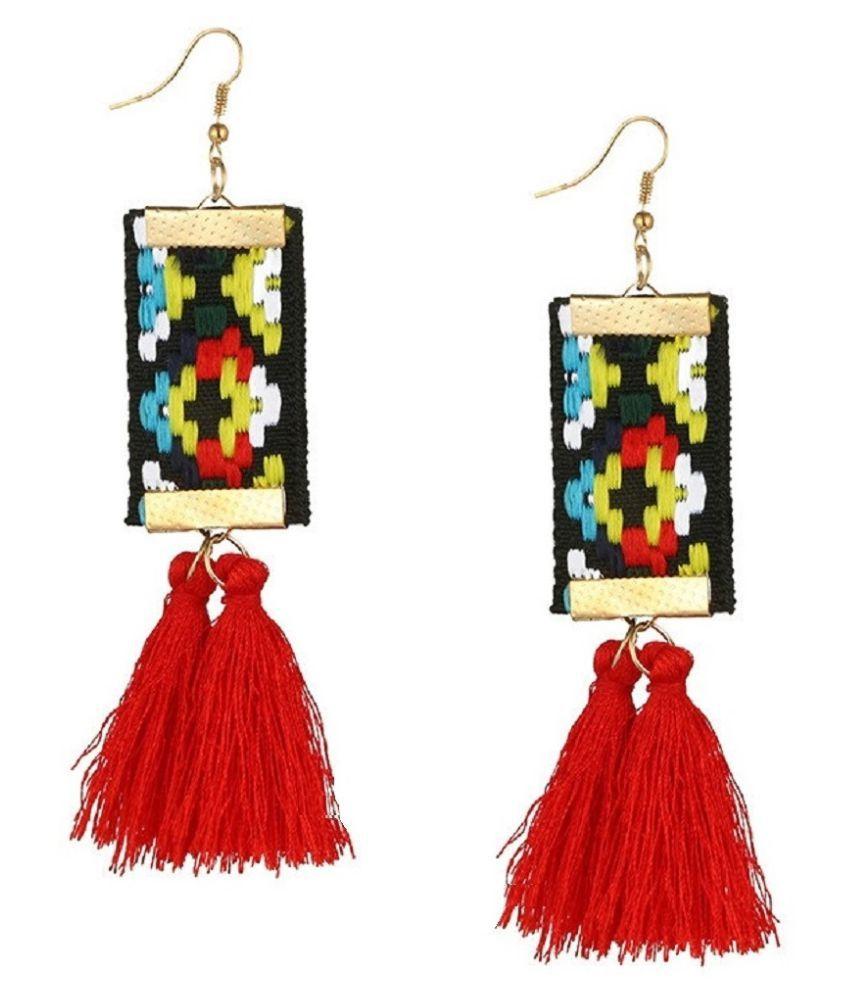 Fabula Jewellery Red Tassel African Tribal Motif Drop Fashion Earrings For Women & Girls
