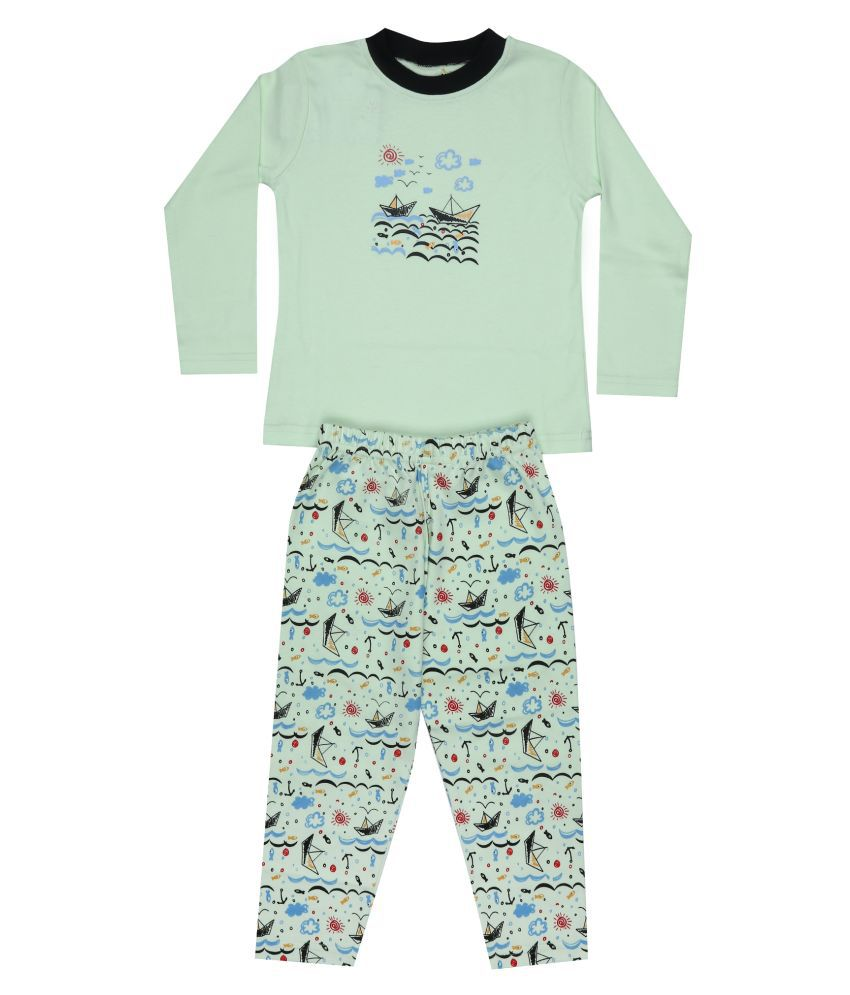 KABOOS OFF WHITE AND BLACK COLOURED COTTON PRINTED NIGHT SUITS FOR KID.