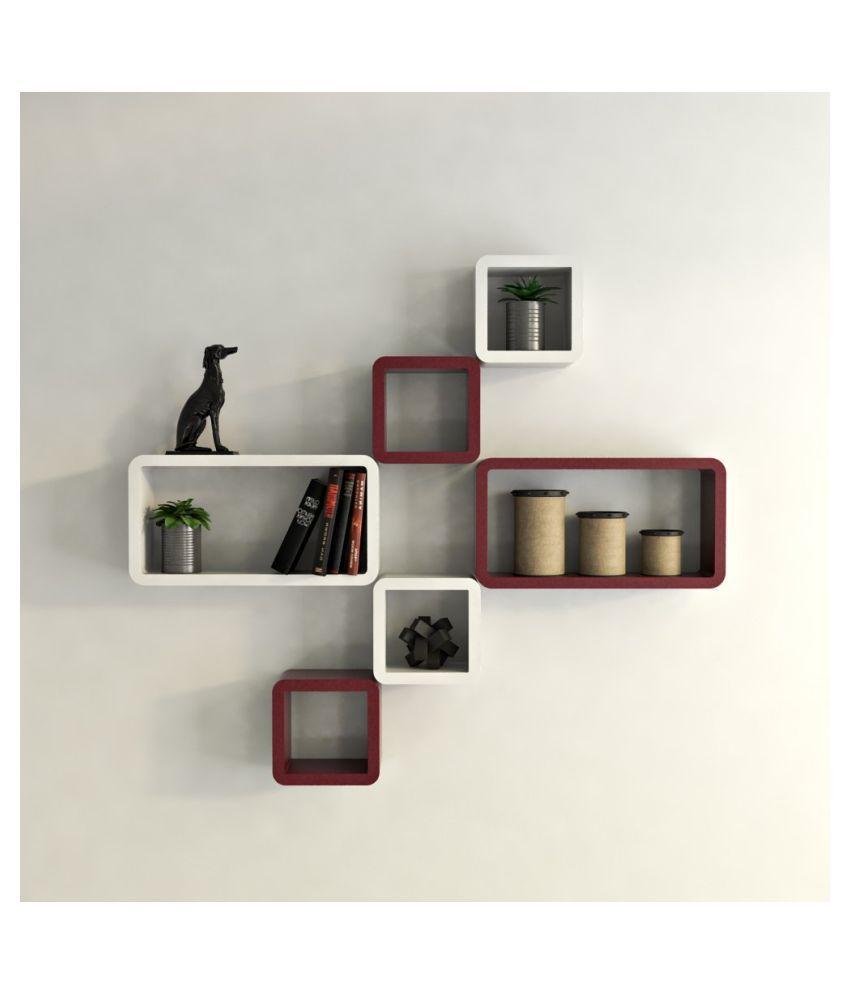 Universal Wood Handicrafts Cube Shape Wall Shelves Set Of 6 Modern Rectangle (White&Brown)