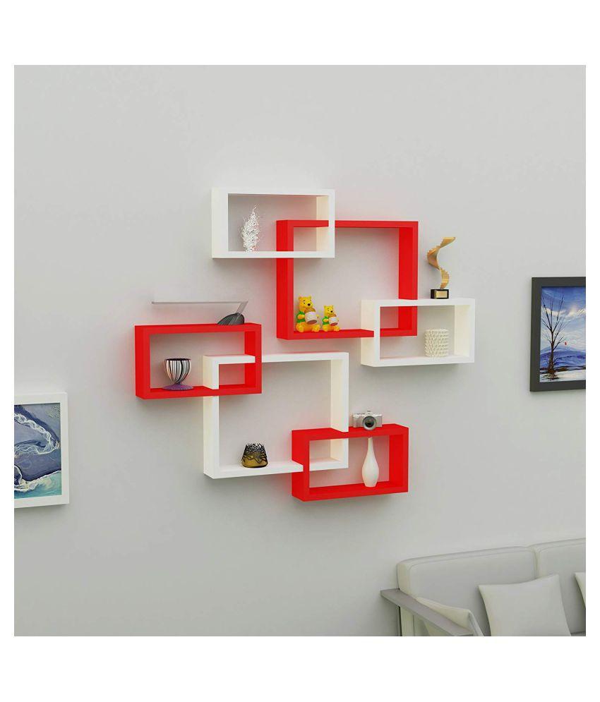 Universal Wood Handicrafts Rectangular Intersecting Wall Shelf Set of 6 (White&Red)