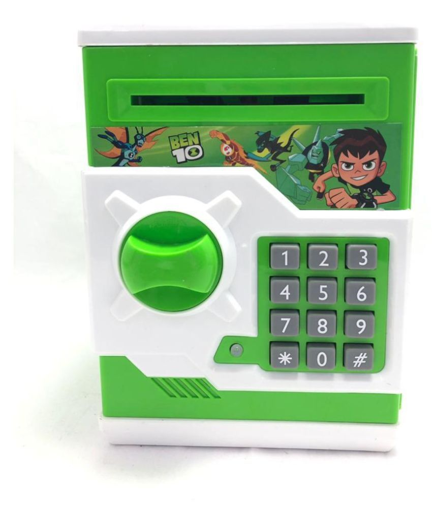 Mubco Ben 10 Atm For Kids Piggy Savings Bank With Electronic Lock With Music And Automatic Door Open Coin Bank Cash Deposit For Kids Above Age 3 Year Buy Mubco