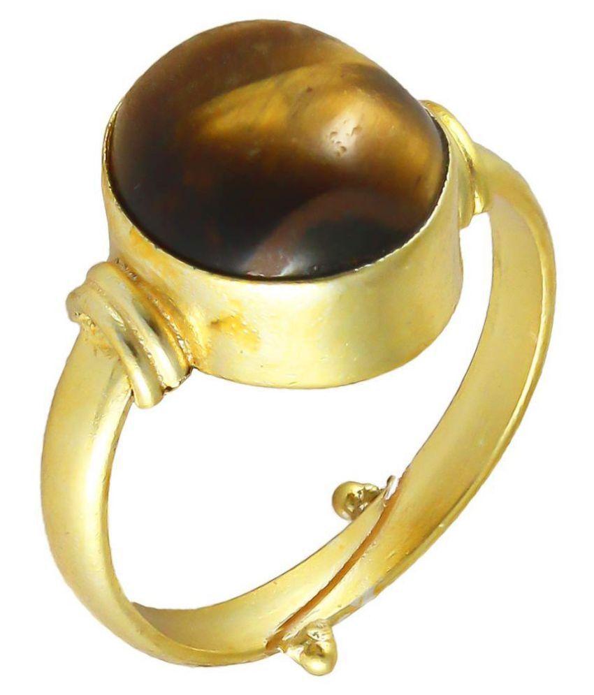 Swasti Retail Lab Certified 3.25 Ratti Tiger Eye/Tiger Stone Panchdhatu Adjustable Ring for Men and Women