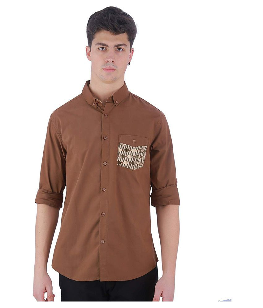 TED HARBOR Cotton Blend Brown Solids Shirt