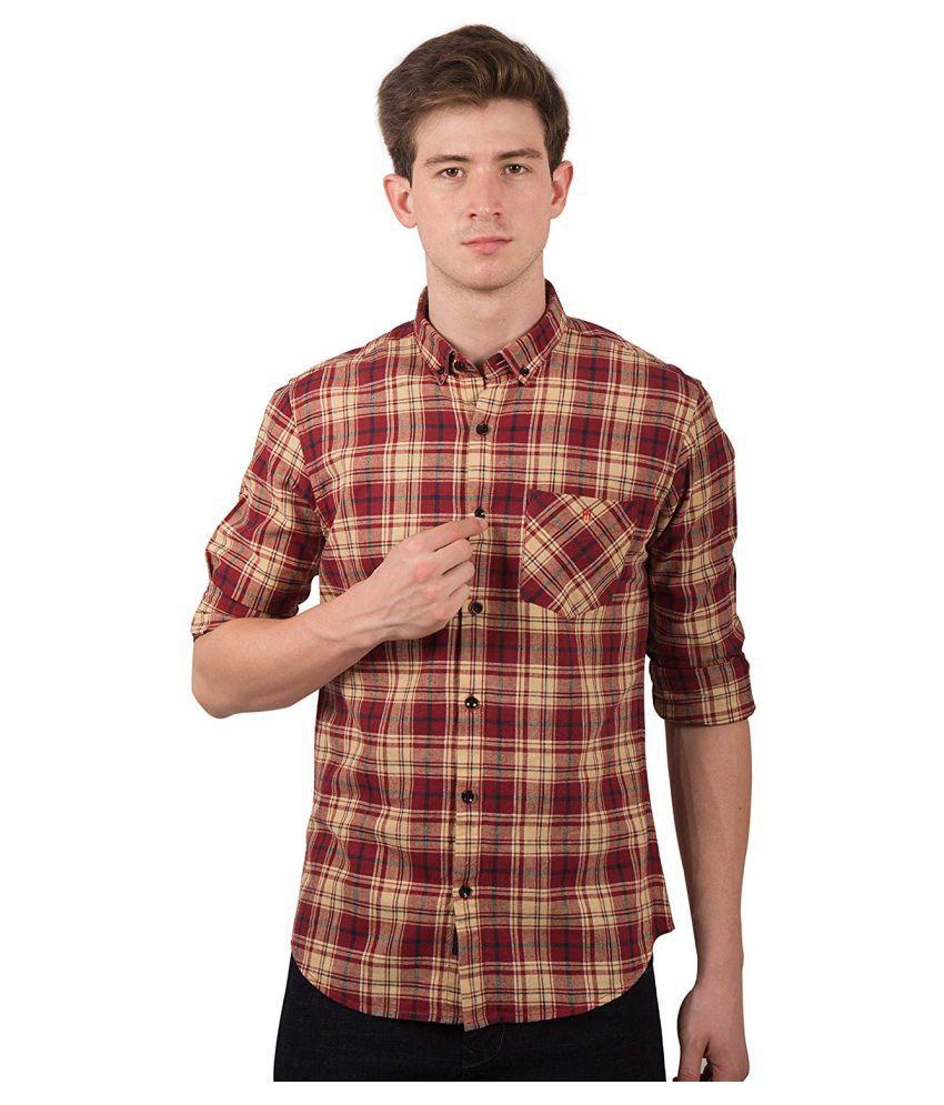 TED HARBOR Cotton Blend Multi Checks Shirt