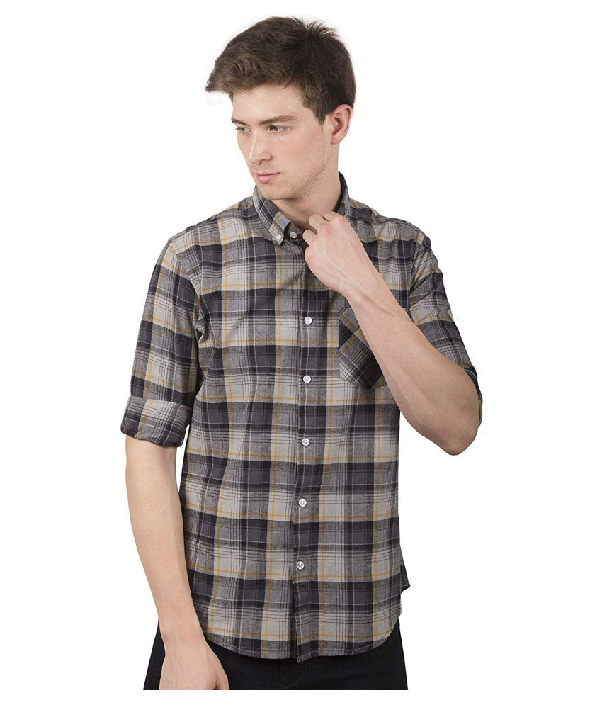 TED HARBOR Cotton Blend Multi Checks Shirt