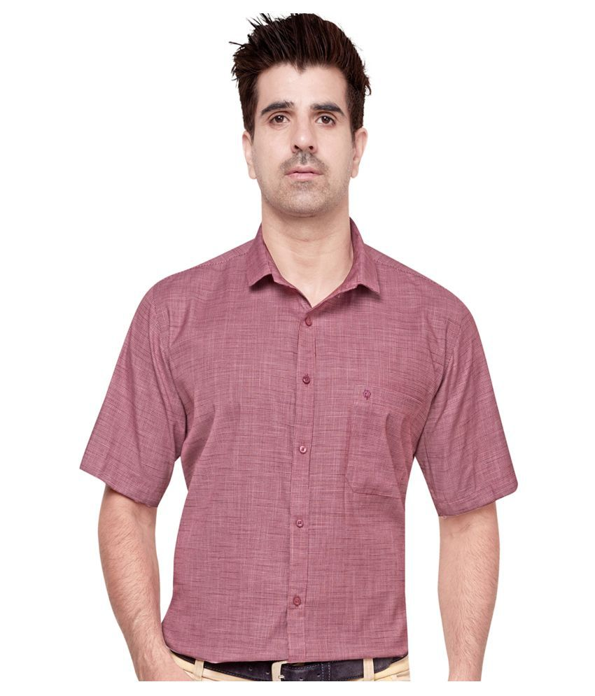 Cotton Leaf Apparels 100 Percent Cotton Red Checks Shirt