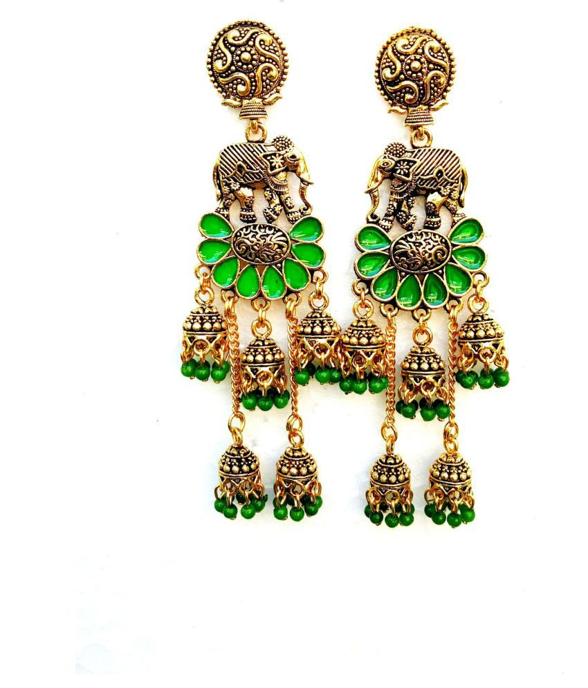 VERY BEAUTIFUL ANTIQUE LOOK ELEPHANT DESIGN WITH MEENAKARI AND LONG JHUMKI ...............