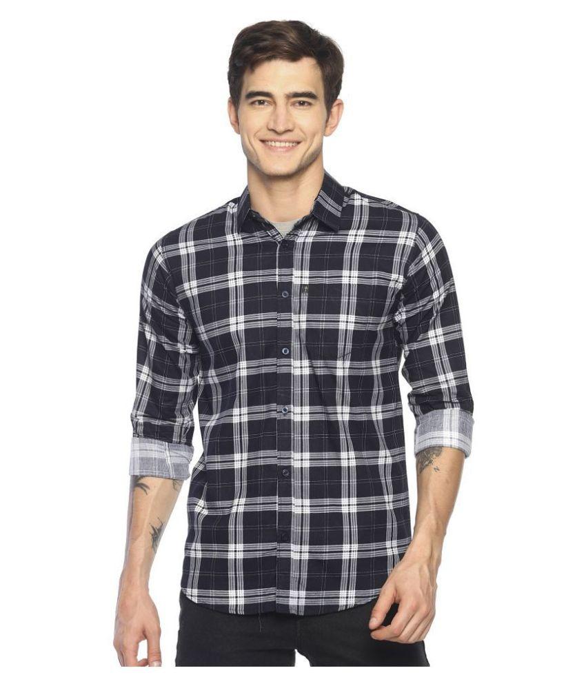 Levizo 100 Percent Cotton Navy Checks Shirt