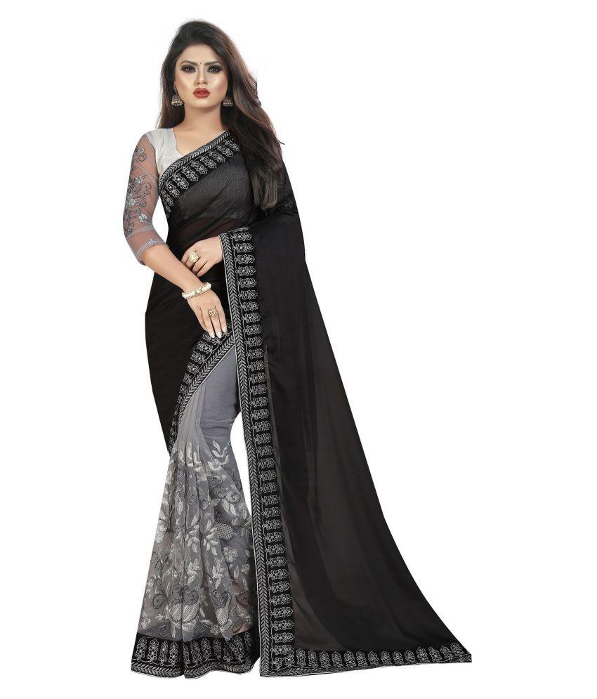 Maharsh Online Black,Grey Georgette Saree