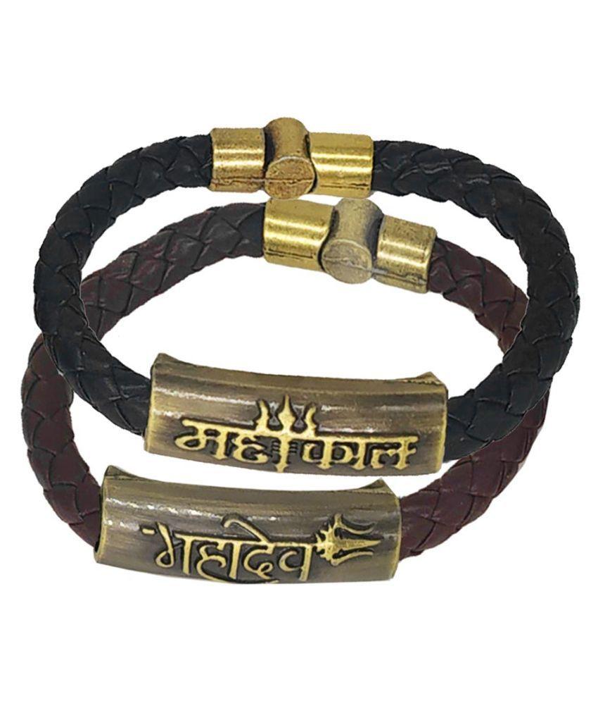 Men Style Mahakal Mahadev Trishul Charm ID Black Brown Gold  Leather Stainless Steel Combo Bracelet