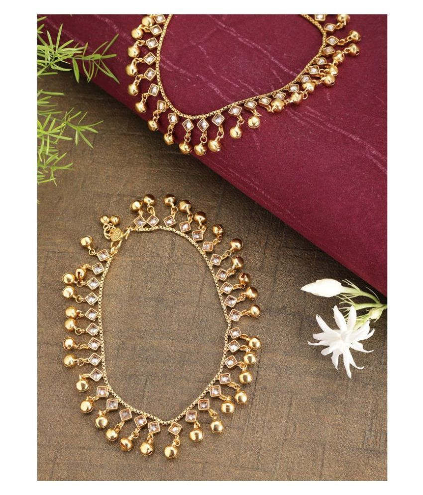 Stylish Kundan Gold Plated Anklets For Women And Girls