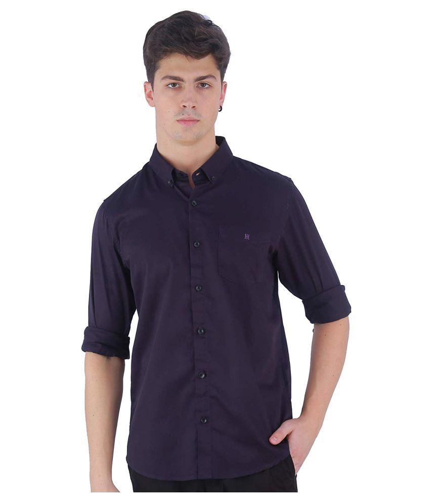 TED HARBOR Satin Purple Solids Shirt