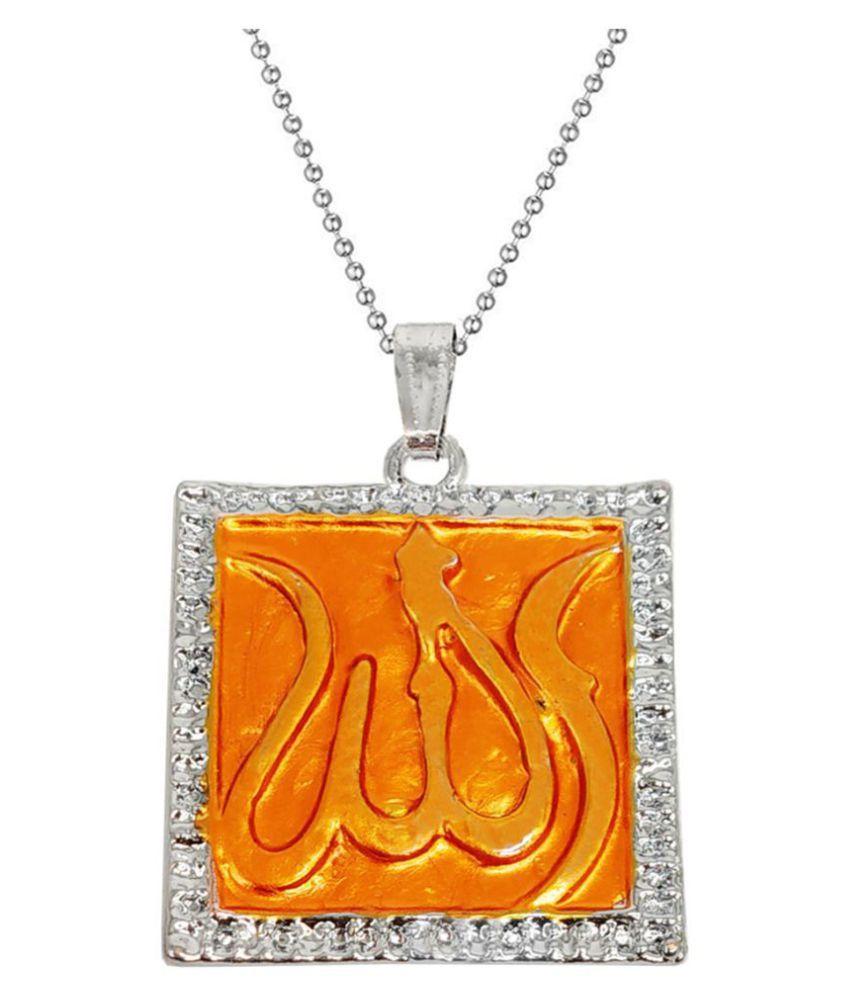 Men Style  Crystal Arabic Islamic Muslim God Allah 786 Locket With Chain Rhodium Cubic Zirconia Metal Pendant Set