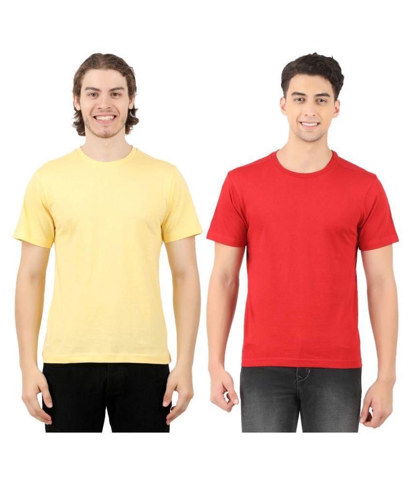 NAMMA OORU TREND CLOTHS (OPC) PVT LTD 100 Percent Cotton Yellow Solids T-Shirt