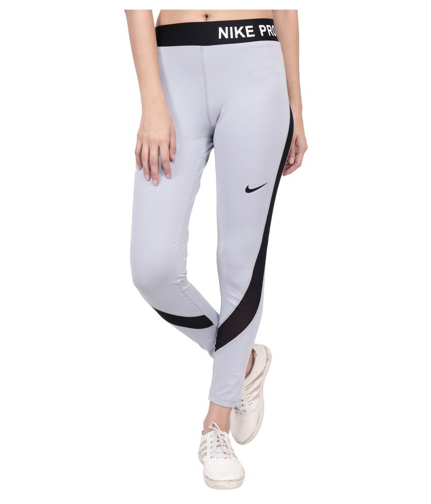 Nike Gray Polyester Lycra Solid Tights