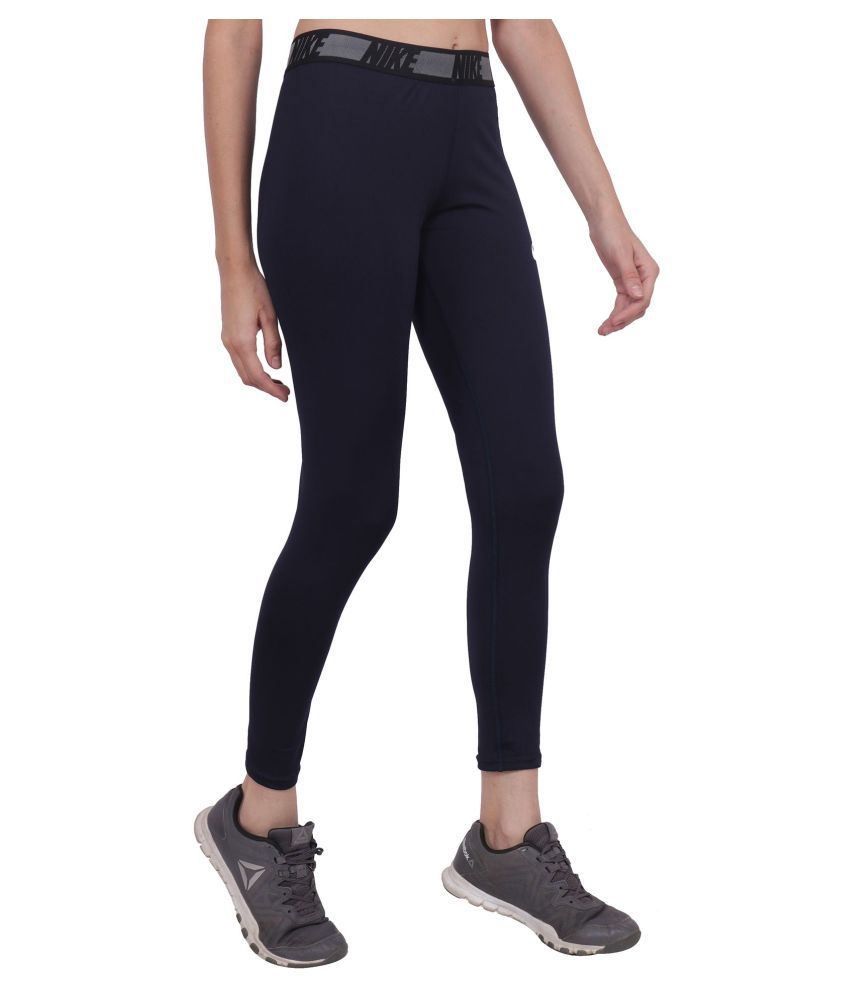 Nike Navy Polyester Lycra Solid Tights