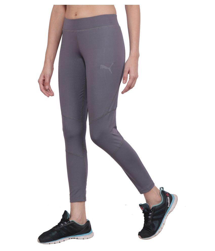 Puma Gray Polyester Lycra Solid Tights