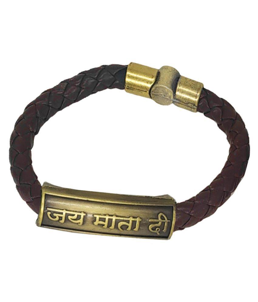 Shiv Jagdamba Jai Matadi Charm ID Brown Gold  Leather Stainless Steel  Bracelet