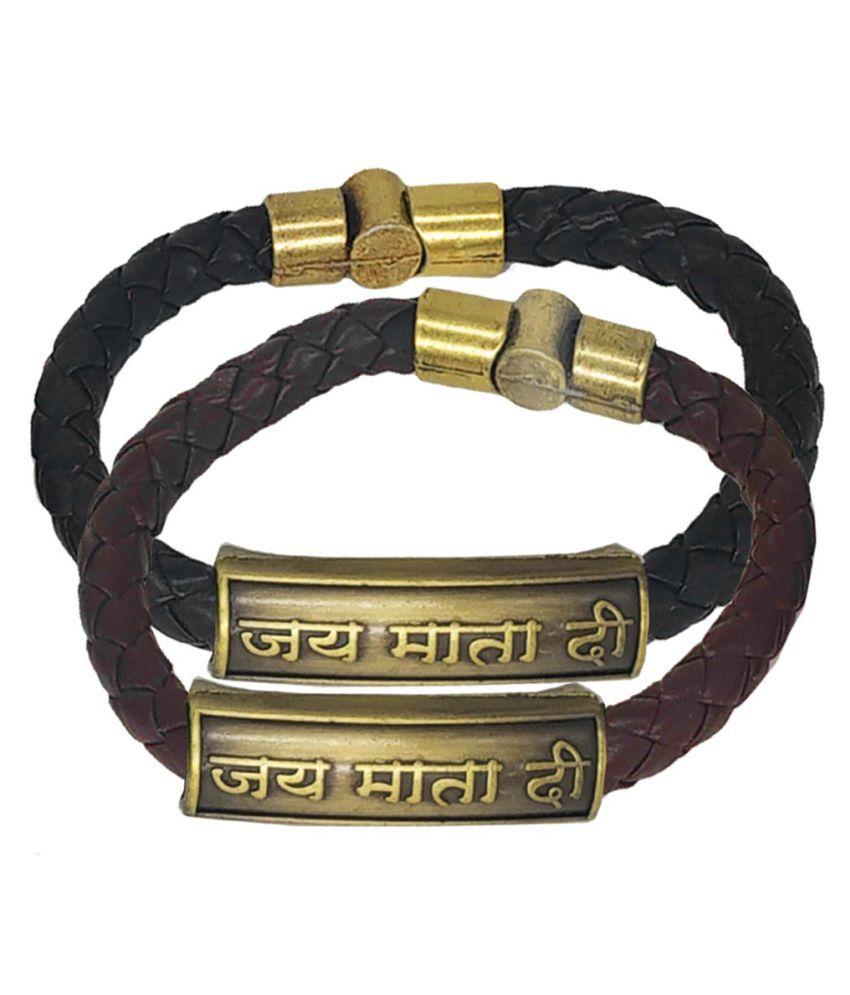 Shiv Jagdamba Jai Matadi Charm ID Black Brown Gold  Leather Stainless Steel Combo Bracelet