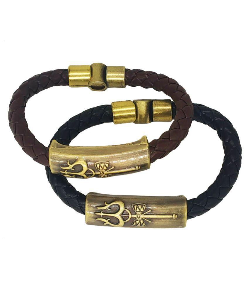 Shiv Jagdamba Shiva Trishula Damaru Charm ID Black Brown Gold  Leather Stainless Steel Combo Bracelet