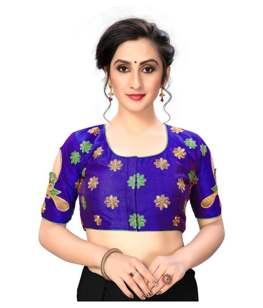 Fab Dadu Blue Silk Semi Stitched Blouse