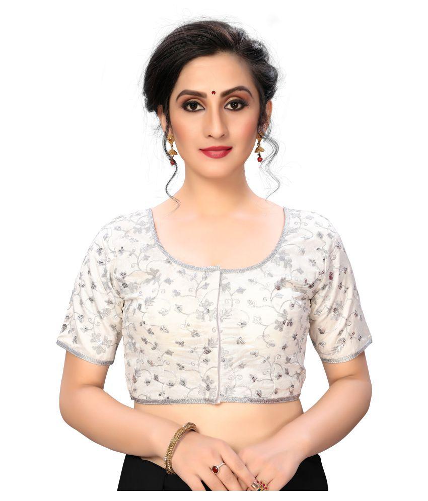 Fab Dadu White Silk Semi Stitched Blouse