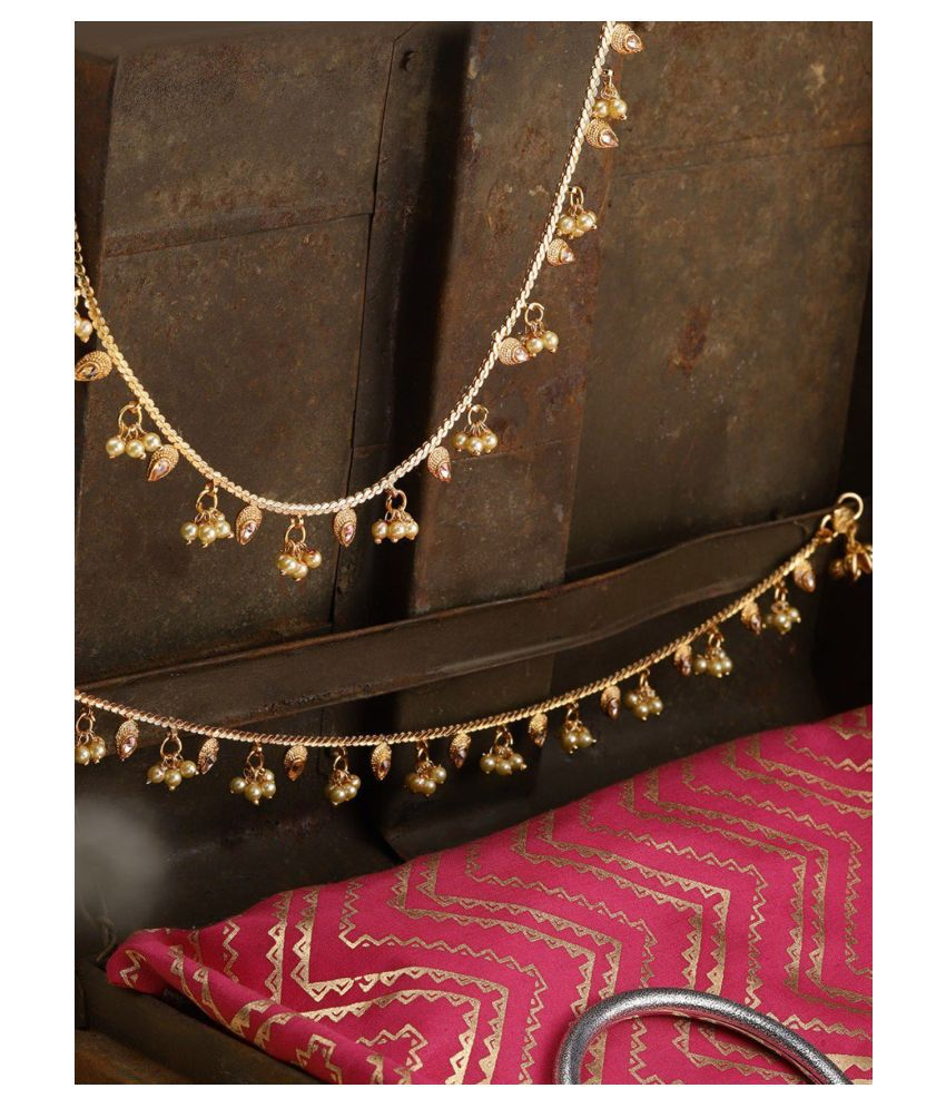 Priyaasi Set Of 2 18K Gold-Plated Pearl Kundan Stone-Studded For Women And Girls