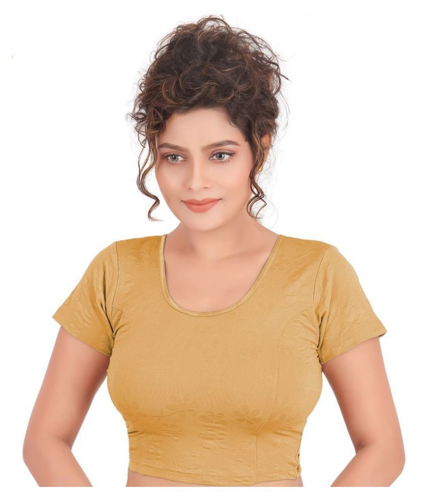 Atulya Designer Blouse Beige Lycra Readymade without Pad Blouse