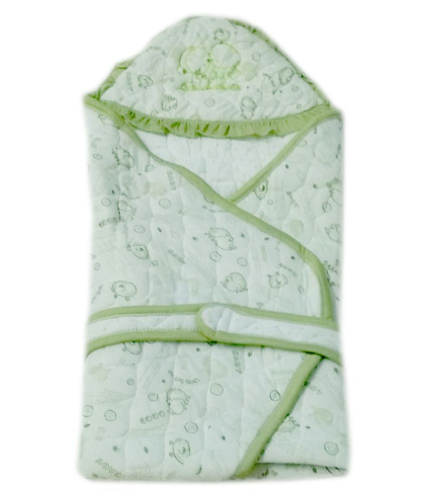 Squnibee Green Poly Cotton Baby Wrap cum blanket ( 75 cm × 75 cm - 1 pcs)