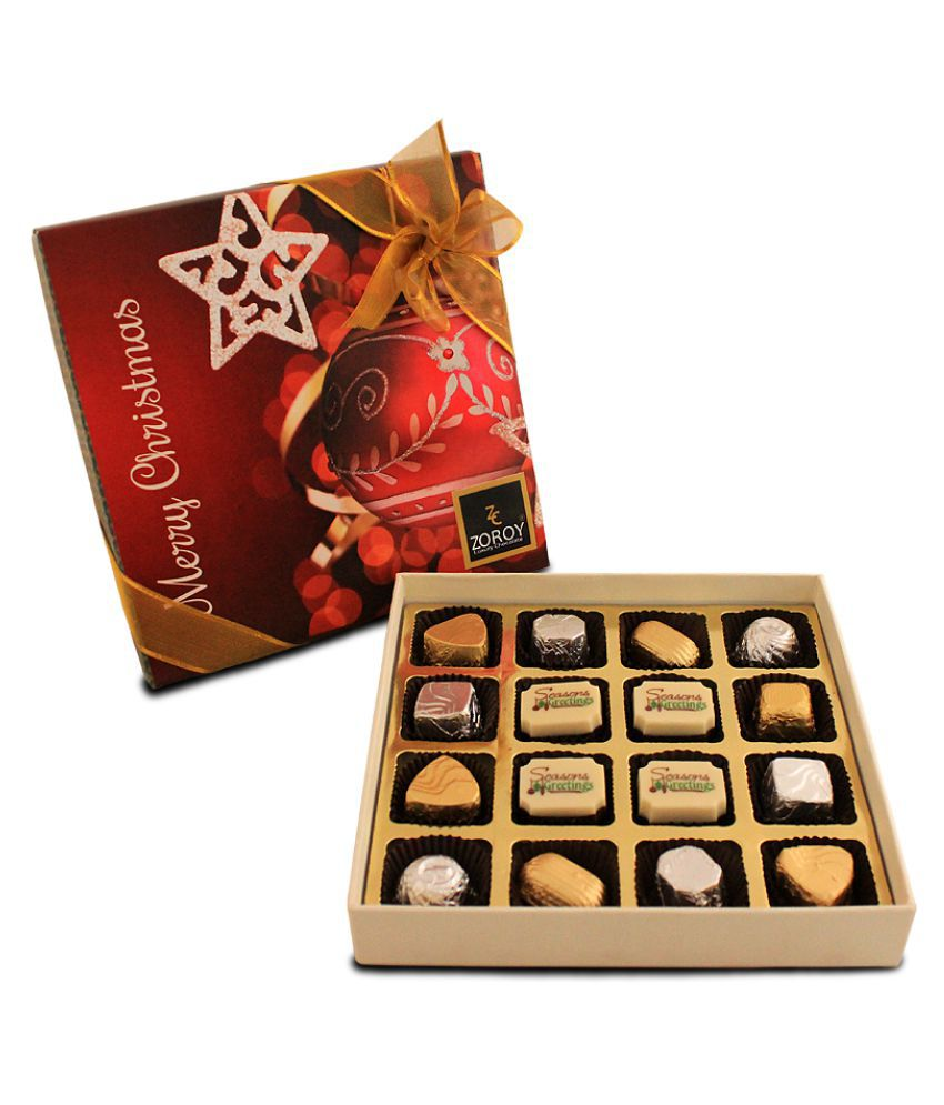 Zoroy Luxury Chocolate Chocolate Box Christmas Greeting Box 16 chocolates 160 gm