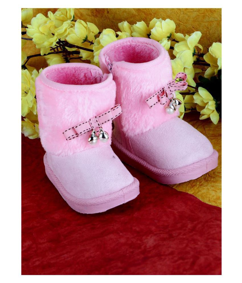 Passion Petals Winter Boots With Pearl Bow For Girls -Pink