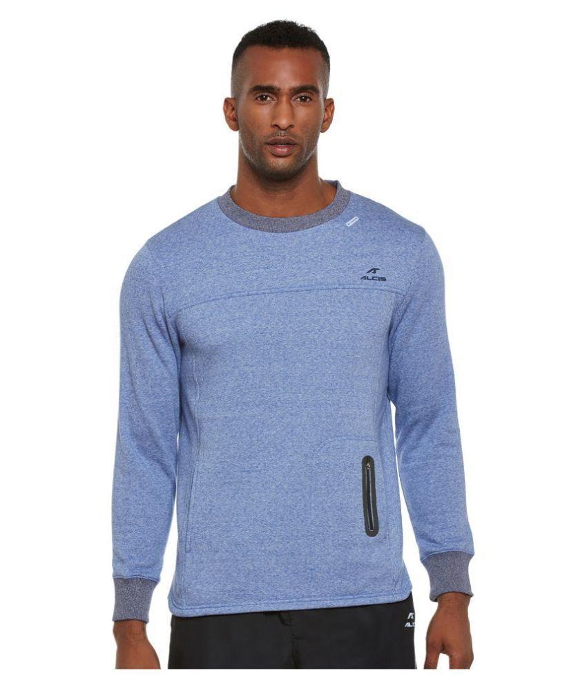 Alcis Blue Cotton Polyester Fleece Sweatshirt Single Pack