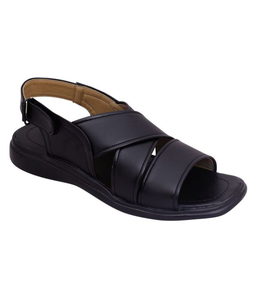Shopolozy Black Synthetic Leather Sandals