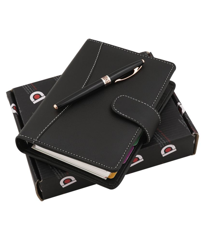 COI Black Pocket Dated Organiser/Elegant Faux Leather Travel Journal, to Nourish Your Daily Day Planner, Gift for Professional Office Going Mother and Father with Pen