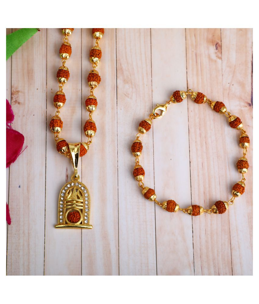 DIPALI Imitation Rudraksh Mala With BRACLET Gold Plated TRISHUL WITH RUDRAKSH Inspired Pendant Set For Men BoyS