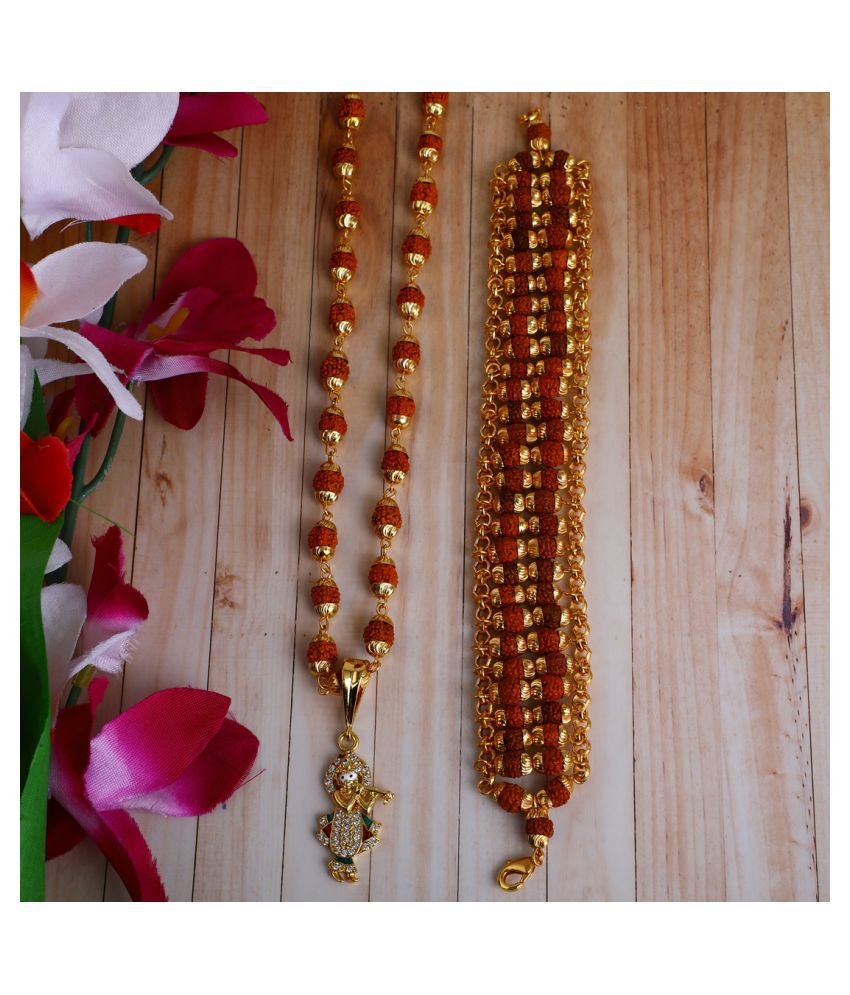 DIPALI Imitation Rudraksh Mala With BRACLET Gold Plated KRISHNAJI Inspired Pendant Set For Men BoyS