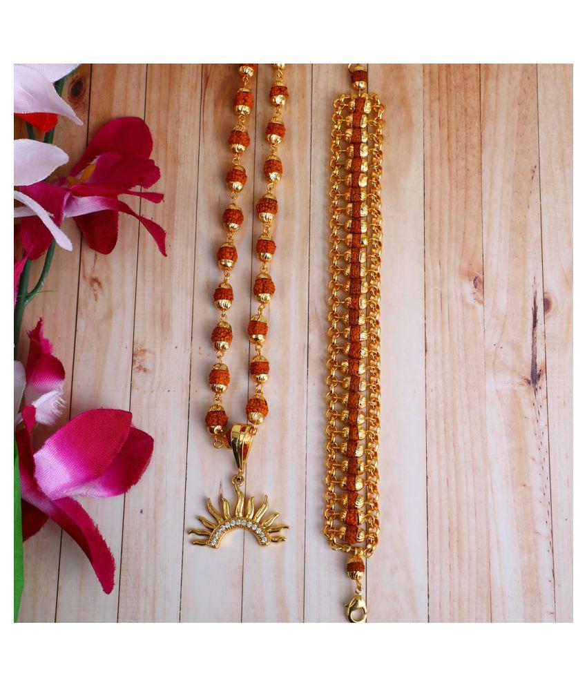 DIPALI Imitation Rudraksh Mala With BRACLET Gold Plated  Inspired Pendant Set For Men BoyS