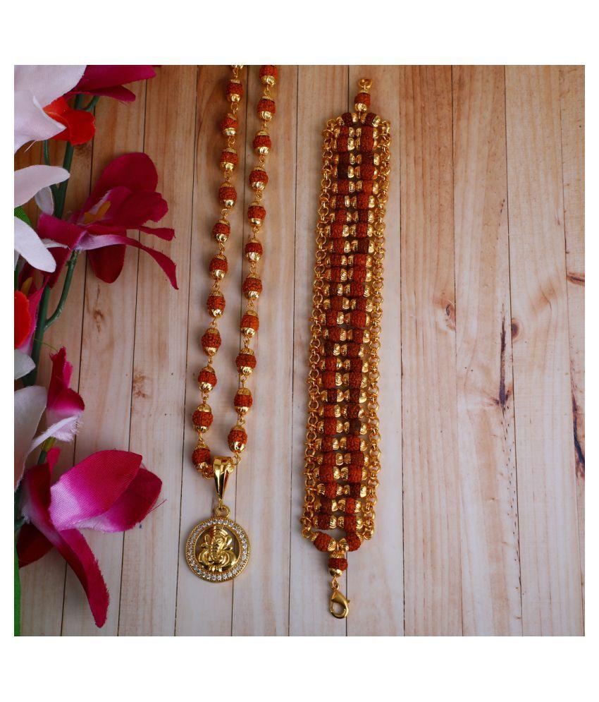 DIPALI Imitation Rudraksh Mala With BRACLET Gold Plated GANPATI Inspired Pendant Set For Men BoyS