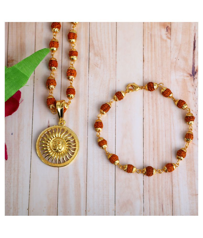 DIPALI Imitation Rudraksh Mala With BRACLET Gold Plated SURYA DEV Inspired Pendant Set For Men BoyS