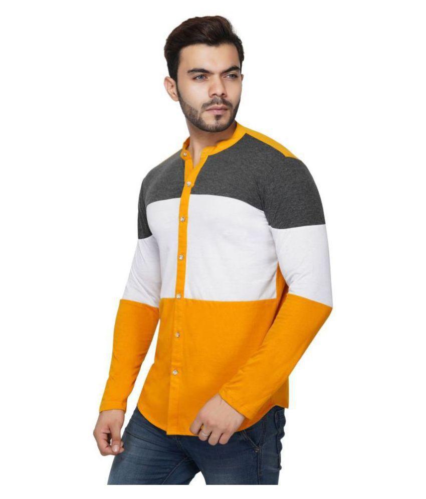 LIBAAS 100 Percent Cotton Multi Color Blocks Shirt