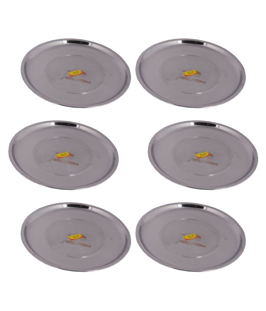Shiv Shakti Arts Steel Serving Plate Stainless Steel Dinner Set of 6 Pieces