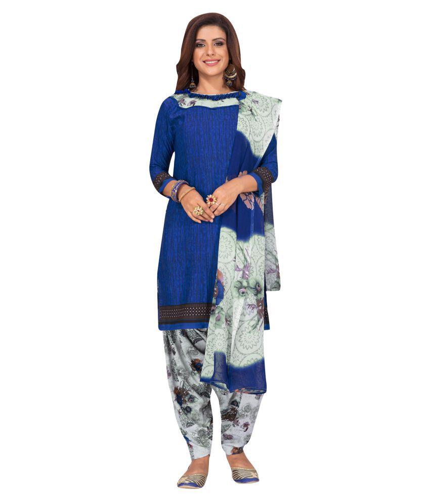 Salwar Studio Blue Synthetic Dress Material
