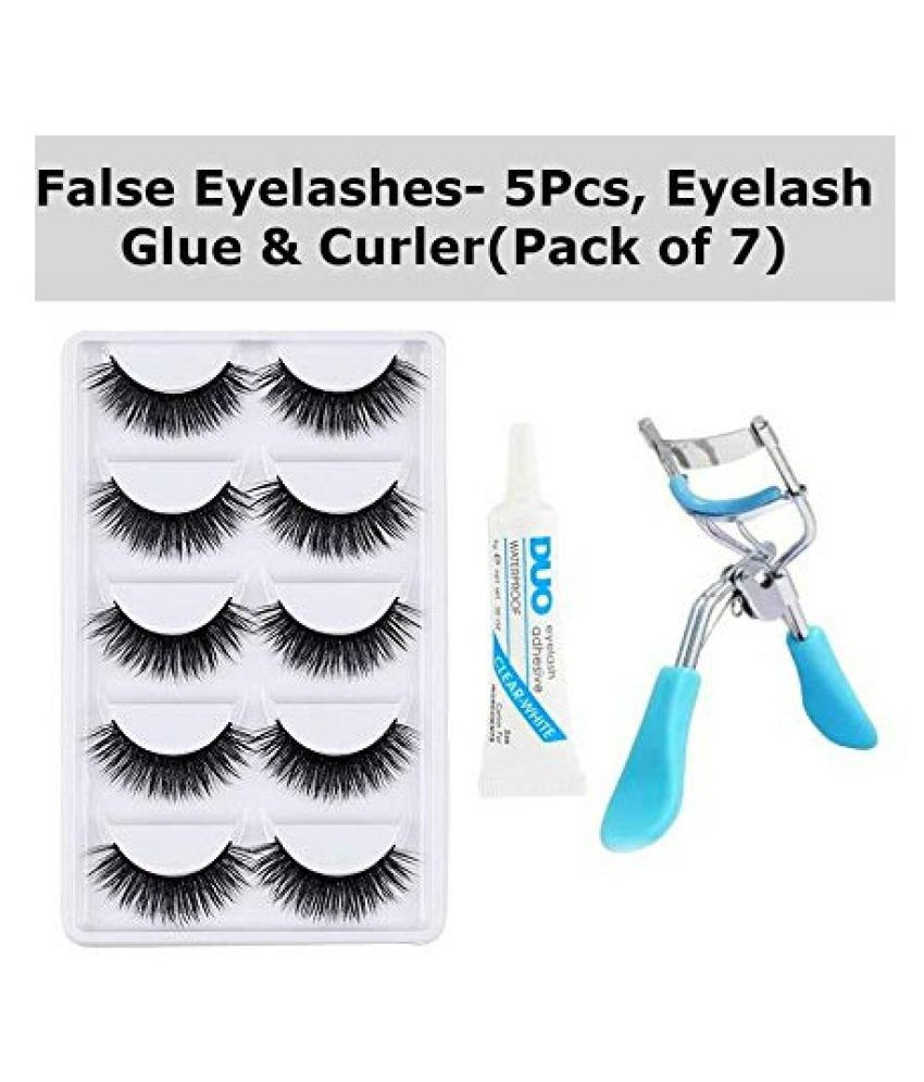 RTB Eyelash Curler, Eyelash Glue, 5 Pair False Eyelash Black 5 7 5 g