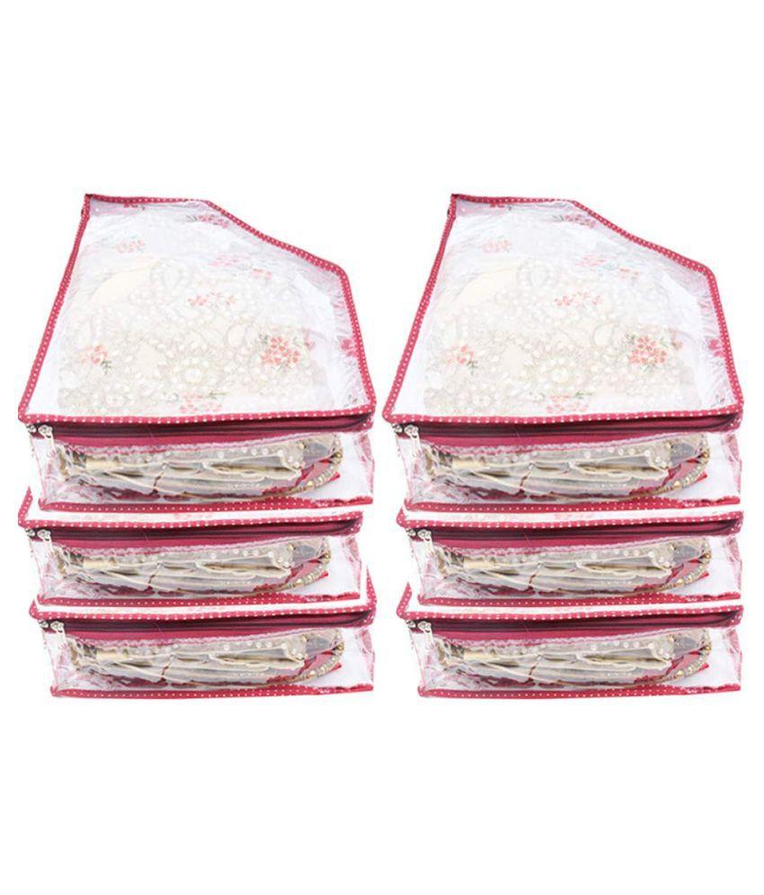 PrettyKrafts Maroon Saree Covers   6 Pcs