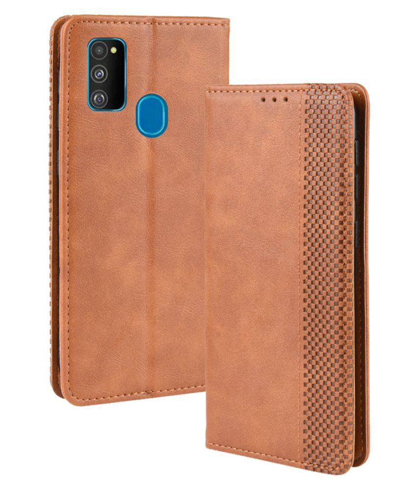 Samsung Galaxy M30s Flip Cover by Excelsior - Brown NA